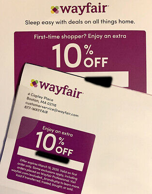 WAYFAIR - 10% OFF - Online Promo Codes - Exp Mar / April *2 Discount CODES!