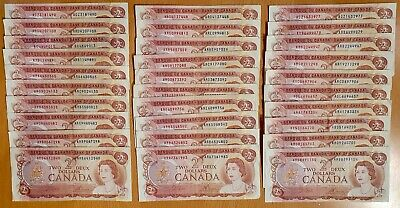 1974 $2 Two Dollar Canada Bank Notes (Lot of 10) - Fine