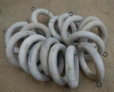 15 Large Salvaged Antique Wooden Curtain Rings~Lovely Weathered Patina
