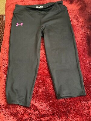 Under Armour Heat Gear Capri Athletic Pants Leggings Girls Youth Large YLG Black