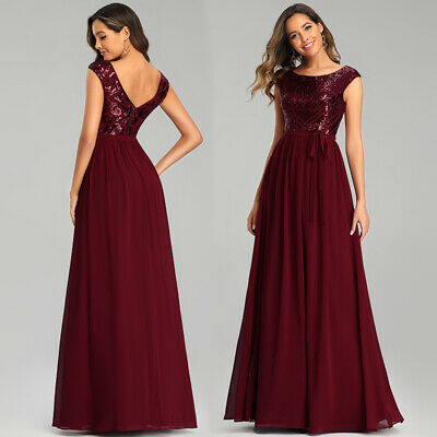 Ever-Pretty Chiffon V Neck Long Bridesmaid Dresses Cocktail Evening Party Gowns