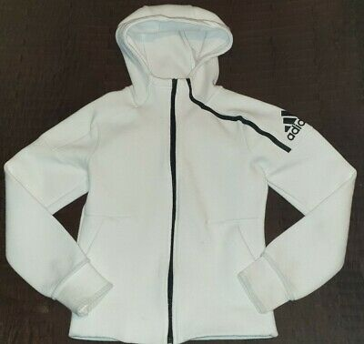 Boys White Adidas Tracksuit Top / Hooded Jacket Hoody Age 9 - 10 Years Fab Cond