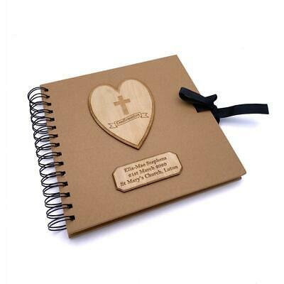 Personalised Brown Confirmation Guest Book With Wooden Engraving
