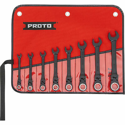 Proto Combination Locking Flex-Head Ratcheting Wrench Set 8pc SAE Blk Oxide