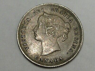 AU Better-Grade 1899 Silver Canadian 5 Cent Coin. Queen Victoria.  #46