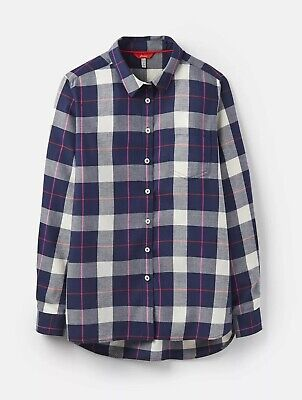 Joules Womens Lorena Relaxed Button Through Shirt in NAVY CHECK Size 8