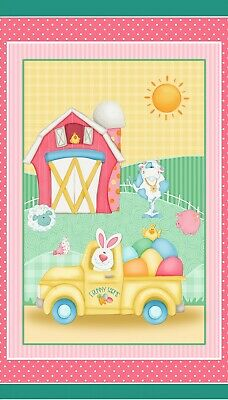 Down On The Bunny Farm~Henry Glass Easter Fabric Panel~Simply Shelly~Truck, Eggs
