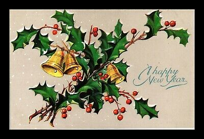 Dr Jim Stamps Us Happy New Year Embossed Bells Topical Greetings Postcard