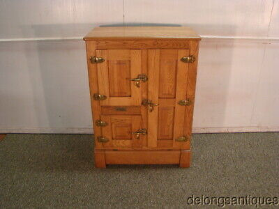 60224:Early 1900's Solid Oak 3-Door Porcilien Lined Ice Box