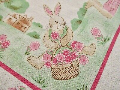 EASTER Bunny Scenic Tablecloth Folk Art  Farmhouse Vintage Terrisol Cotton 50x70