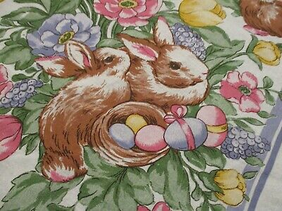 EASTER Spring Flowers Tablecloth 1005 Cotton Bunnies Baskets Eggs Tulips 50x70