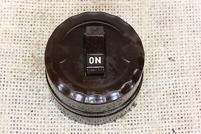 old toggle snap light switch all Brown bakelite 2 way wire vintage tested 2""
