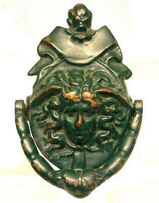 Antique Victorian Bronze Versace Medusa Head Door Knocker Architectural Salvage