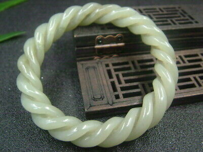 Antique Chinese Celadon Nephrite Hetian-jade bangle Hollow Twisted wire bracelet