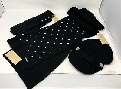 Michael Kors Black Winter Scarf Gloves Hat With Silver Buttons 3 Pc NWT