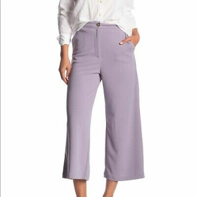Good Luck Gem | Size M High Waist Culottes Pants Lavender Purple Wide Leg Crop