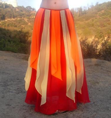 Ameynra Belly Dance Skirt Red Orange Yellow Chiffon for Fire Costume All Sizes