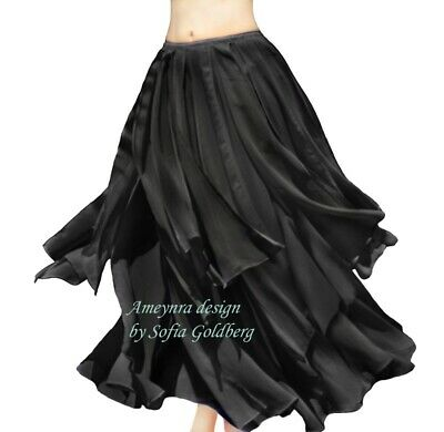 Ameynra Belly Dance Chiffon Skirt with Petals. BLACK. All sizes available