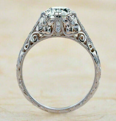 Antique Vintage Art Deco Engagement Ring 2.3Ct Round Diamond 925 Sterling Silver