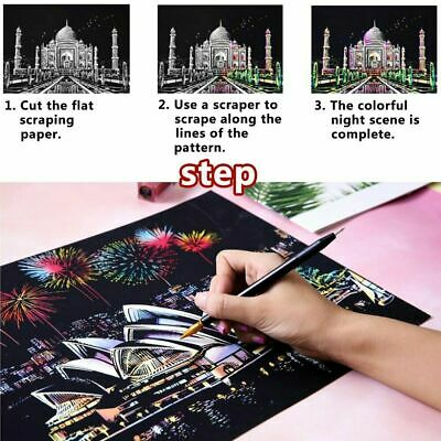 Magic Scratch Art Painting Paper With Wooden Drawing Stick Kid Adult DIY KIT HO