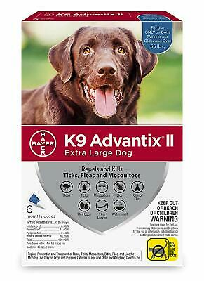 K9 Advantix II for Extra Large Dogs Over 55 lbs - 6 Pack - NEW
