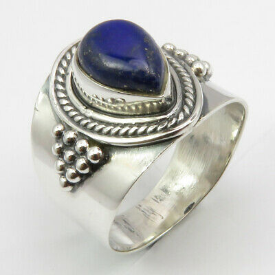 925 Sterling Silver Lapis Lazuli Ethnic Ring Size 7 Women's New Jewelry