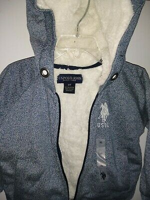 U.S Polo Assn Hoodie Sherpa Jackets Toddler Boys Various Sizes Marled Navy