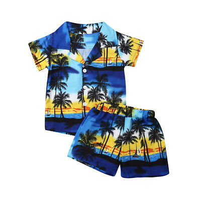 Toddler Kid Baby Boy Clothes Outfit Set Hawaiian Beach Shirt Tops+Shorts Pants