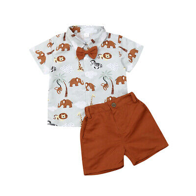 Kid Toddler Baby Boy Animals Shirt Bow Tie Tops Shorts Outfit Clothes Set 1-6T