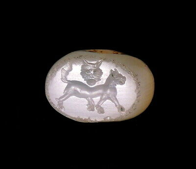 Sasanian Chalcedony Stamp Seal Engraved With A Lion & Lion Mask (N43)