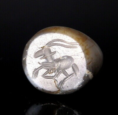 Sasanian Agate Stamp Seal Engraved With An Antelope (N44)