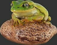 """4"""" Small Green Frog on Rock Polyresin Statue Figurine Prop Display Decor"""