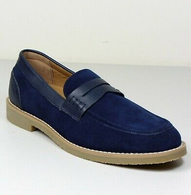 M&S Real SUEDE LEATHER Rubber Sole LOAFERS ~ Size 8 ~ NAVY