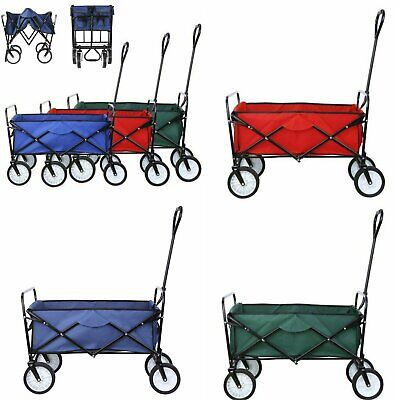 Pull Push Collapsible Folding Wagon Beach Cart Outdoor Garden Camping Heavy Duty