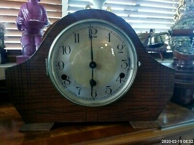 Art Deco Oak Westminster And Whitington Chime Mantle Clock