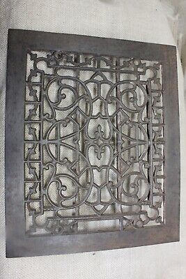 "old Heat Air Grate register only 11 5/8 x 9 5/8"" iron flower vine vintage 1800's"