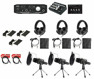 Mackie 3-Person Podcast Podcasting Recording Kit w/EM-89D Mics+Stands+Headphones
