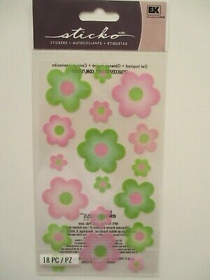Sticko Stickers - Vellum Pink & Green Flowers with glitter