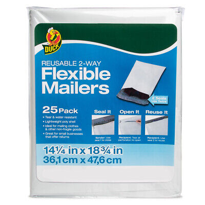 """Duck Brand Reusable 2-Way Flexible Mailers 14.5 x 18.75"""" Poly Bag Shipping"""
