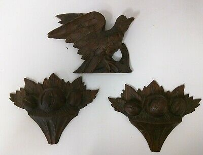 Lovely Antique Lot of French 1880's Oak Wood Furniture Trims Finials Bird, Fruit