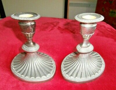 PAIR of HEAVY WEIGHTED SILVER PLATED REGENCY STYLE CANDLESTICKS by FALSTAFF