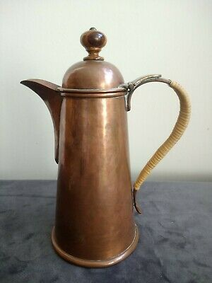 Vintage ARTS & CRAFTS STYLE COPPER WICKER & WOOD Coffee Pot / Hot Water Jug