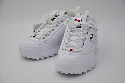 Fila Disruptor II FW02945 111 Leather Youth Trainers White Peacoat Red 38