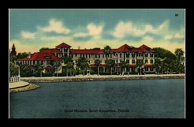 Dr Jim Stamps Us Hotel Monson Saint Augustine Florida Linen Postcard