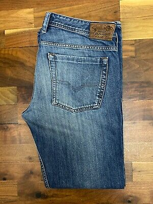 Original Diesel Zathan 0801Z Bootcut Blue 100%Cotton Denim Jeans W34 L30 ES 6612