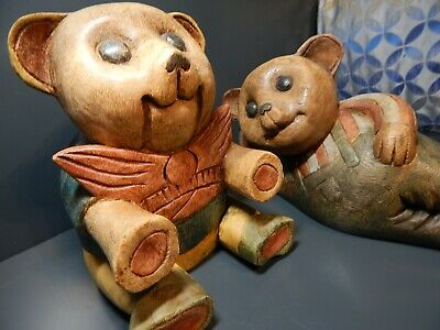 Two Wood Carved Hand Painted Teddy Bear Ornaments