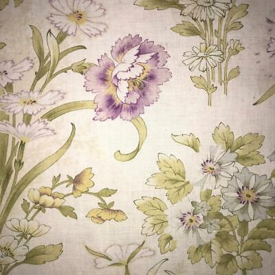 BEAUTIFUL LATE 19th CENTURY FRENCH FINE FLORAL LINEN COTTON CARNATIONS 815