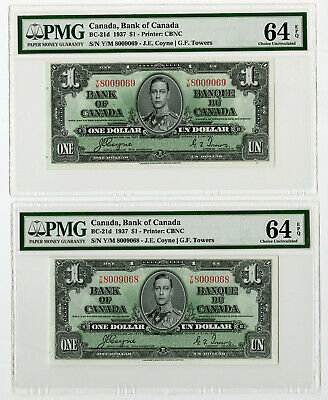 Bank of Canada, Sequential pair $1, 1937, BC-21d, Both PMG Ch. Unc 64 EPQ. CBN