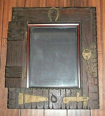 Unique Large HORSE BARN STABLE DOOR PICTURE FRAME, Metal Horseshoe, Wood