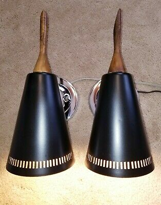Vintage Black Chrome Teak Wood Pierced Cone Shade Wall Fixture Sconce Lights